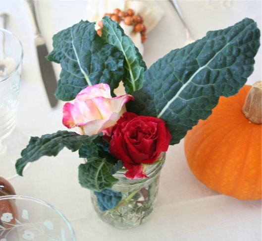 Kale and rose arrangement