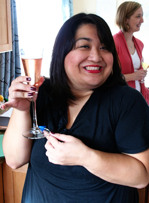 Toasting pink champagne