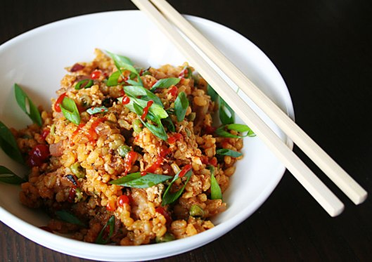 Sriracha and ham fried rice with under 10 ingredients