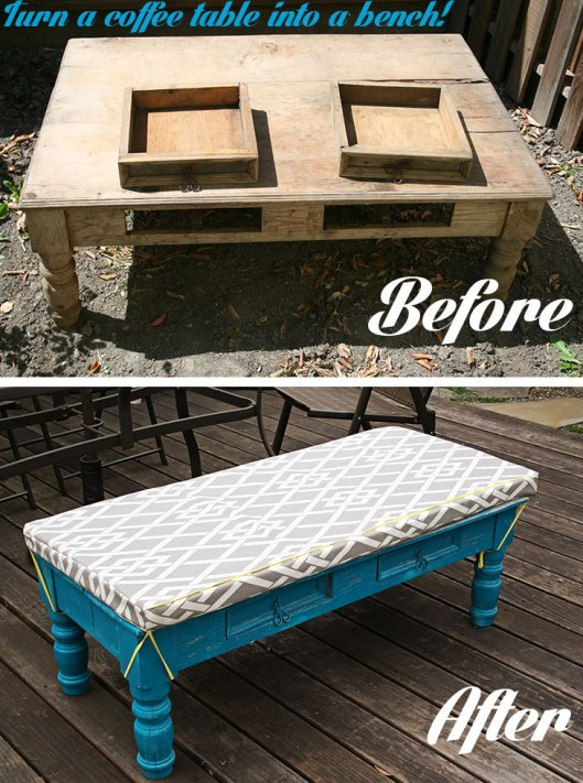 Turn a coffee table into a bench!