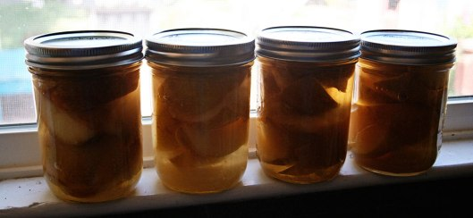 Canned pears in white rum or brandy